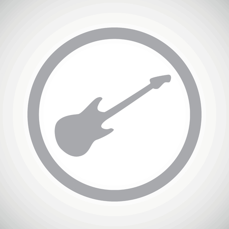 lead guitar: Grey image of electric guitar in circle, on white gradient background Illustration
