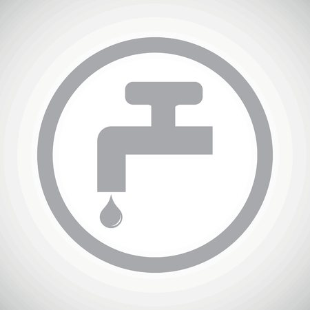 ooze: Grey image of tap and water drop in circle, on white gradient background