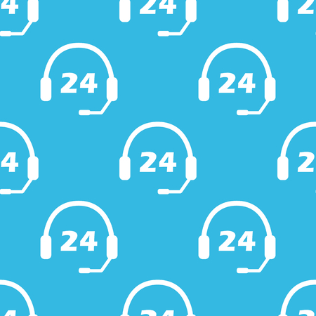 repeated: Image of headset with text 24, repeated on blue background Illustration