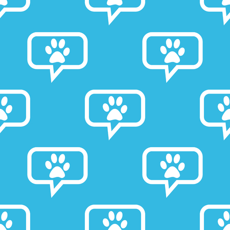 track pad: Image of paw print in chat bubble, repeated on blue background Illustration