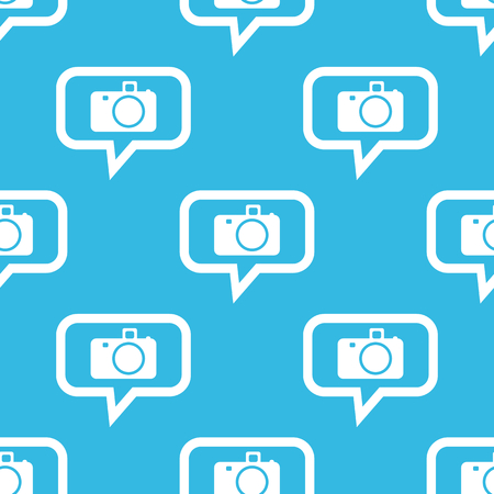 repeated: Image of camera in chat bubble, repeated on blue background