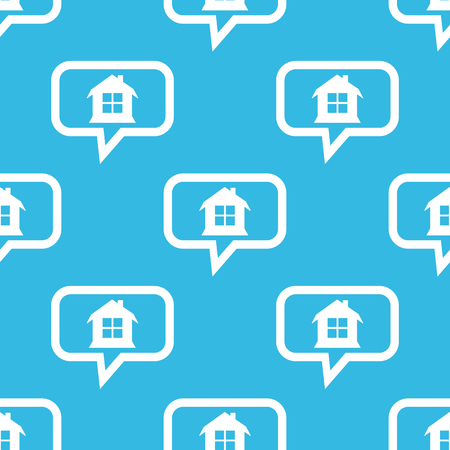 housetop: Image of house with window in chat bubble, repeated on blue background