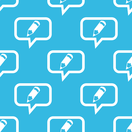 repeated: Image of pencil in chat bubble, repeated on blue background Illustration