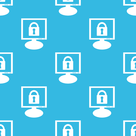 repeated: Image of closed padlock on screen, repeated on blue background Illustration