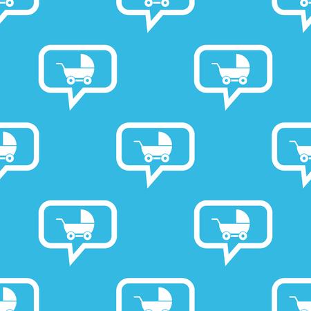 perambulator: Immagine di perambulator in bolla di chat, ripetuto su sfondo blu