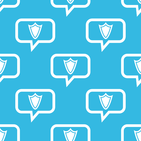 repeated: Image of shield in chat bubble, repeated on blue background