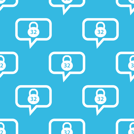 32: Image of 32 kg dumbbell in chat bubble, repeated on blue background