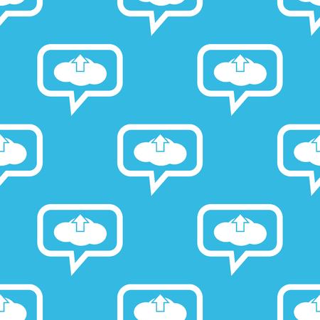 chat up: Image of cloud and up arrow in chat bubble, repeated on blue background Illustration