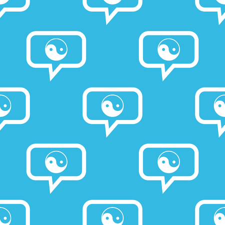Image of ying yang symbol in chat bubble, repeated on blue background Illustration