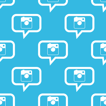 microblog: Image of square camera in chat bubble, repeated on blue background