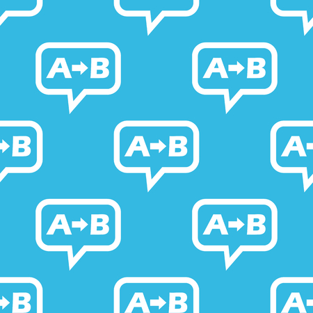 derivation: Letters A, B and arrow in chat bubble, repeated on blue background