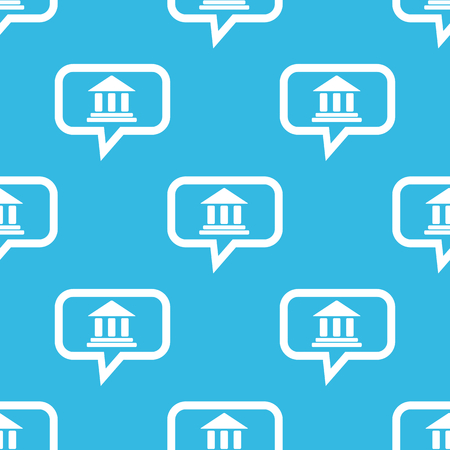 pillars: Image of classical building with pillars in chat bubble, repeated on blue background Illustration
