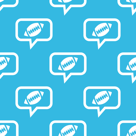 gridiron: Image of rugby ball in chat bubble, repeated on blue background Illustration