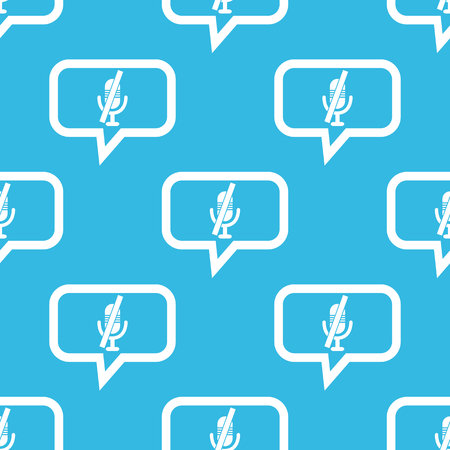 off the record: Image of muted microphone in chat bubble, repeated on blue background Illustration