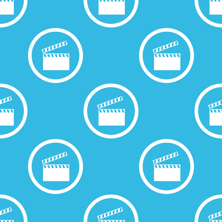 repeated: Image of clapperboard in circle, repeated on blue background