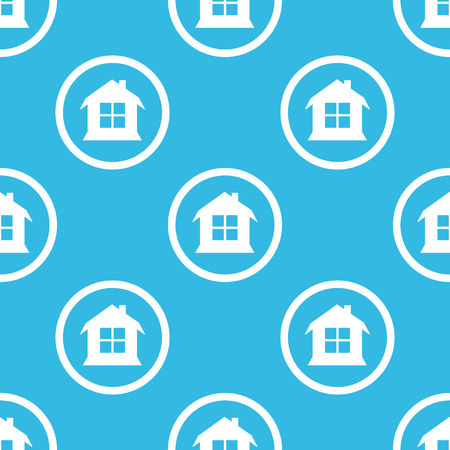 housetop: Image of house with window in circle, repeated on blue background Illustration