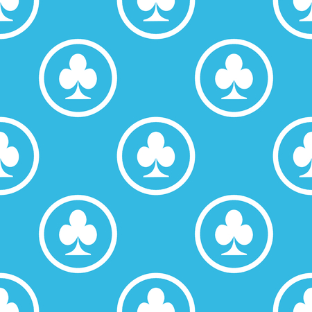 repeated: Image of clubs card symbol in circle, repeated on blue background Illustration