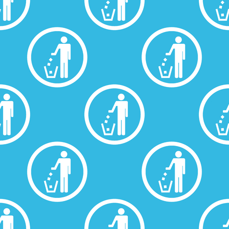 litter bin: Image of man throwing garbage into litter bin in circle, repeated on blue background Illustration