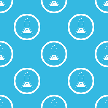 reagents: Image of conical flask in circle, repeated on blue background Illustration