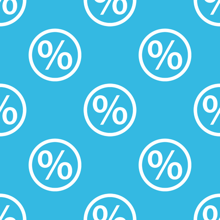 repeated: Percent symbol in circle, repeated on blue background Illustration