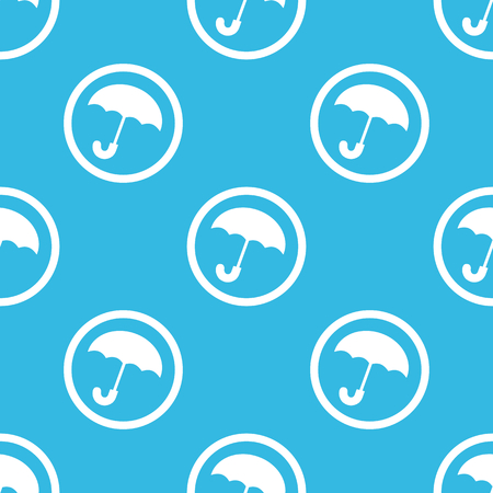 cloudburst: Image of open umbrella in circle, repeated on blue background