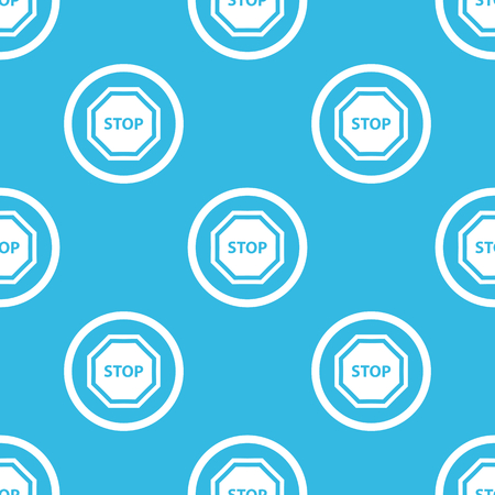 repeated: Image of STOP sign in circle, repeated on blue background