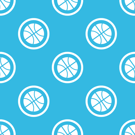 repeated: Image of basketball ball in circle, repeated on blue background Illustration
