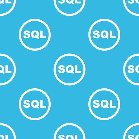 sql: Text SQL in circle, repeated on blue background Illustration