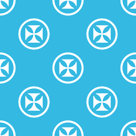repeated: Image of maltese cross in circle, repeated on blue background