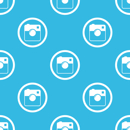 repeated: Image of square camera in circle, repeated on blue background