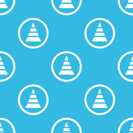 traffic pylon: Image of traffic cone in circle, repeated on blue background