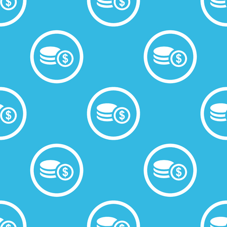 rouleau: Image of dollar rouleau in circle, repeated on blue background