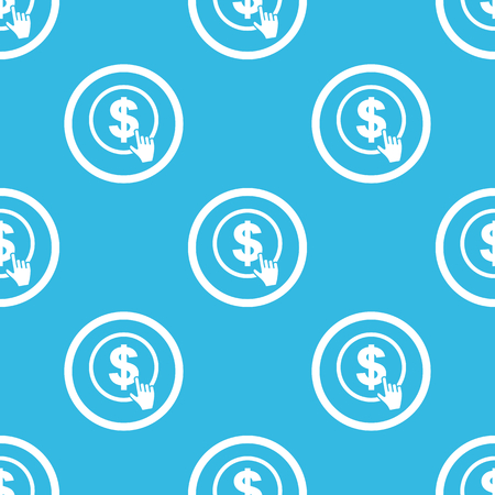 clicking: Image of hand cursor clicking on dollar in circle, repeated on blue background Illustration