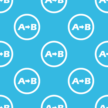 derivation: Letters A, B and arrow in circle, repeated on blue background