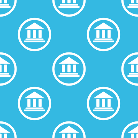 pillars: Image of classical building with pillars in circle, repeated on blue background Illustration