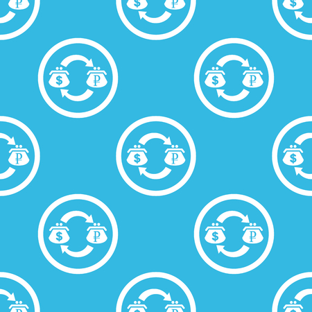 purses: Dollar and ruble purses with exchange symbol in circle, repeated on blue background