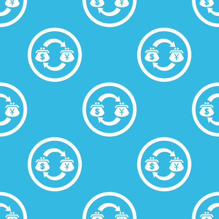 purses: Dollar and yen purses with exchange symbol in circle, repeated on blue background