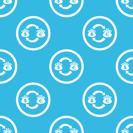 purses: Dollar and euro purses with exchange symbol in circle, repeated on blue background