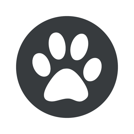 track pad: Image of paw print in black circle, isolated on white Illustration