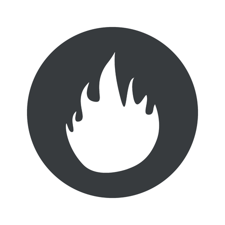 conflagration: Image of flame in black circle, isolated on white Illustration