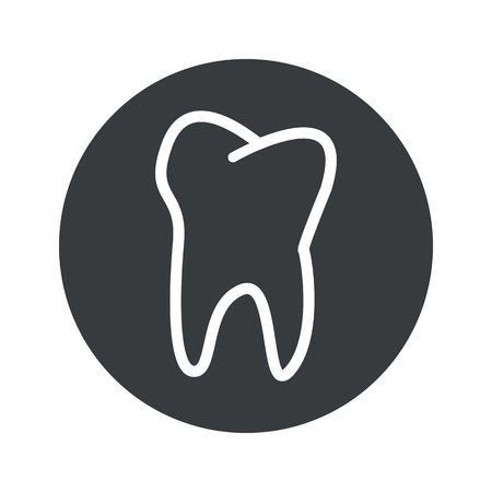 dens: Image of tooth in black circle, isolated on white Illustration
