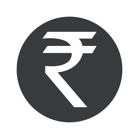 Indian rupee symbol in black circle, isolated on white