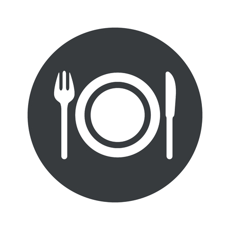 fork knife: Image of fork, knife and plate in black circle, isolated on white Illustration
