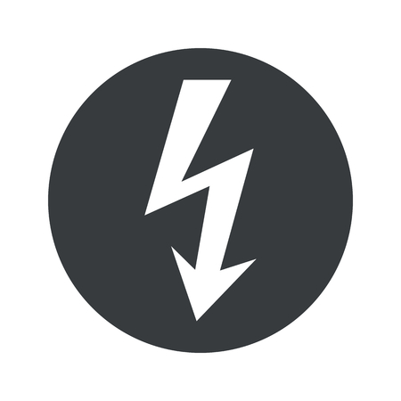 Image of voltage lightning in black circle, isolated on white