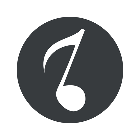 eighth: Image of eighth note in black circle, isolated on white