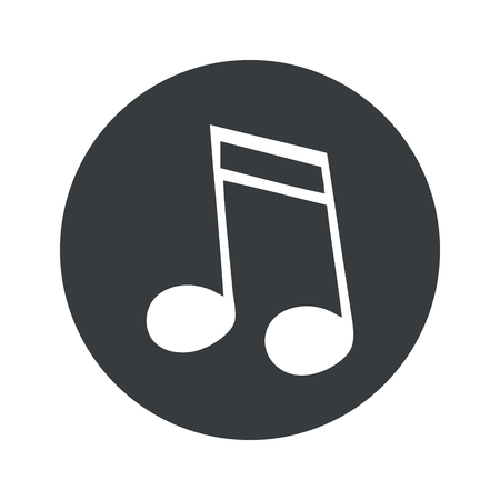 black pictogram: Image of sixteenth note in black circle, isolated on white