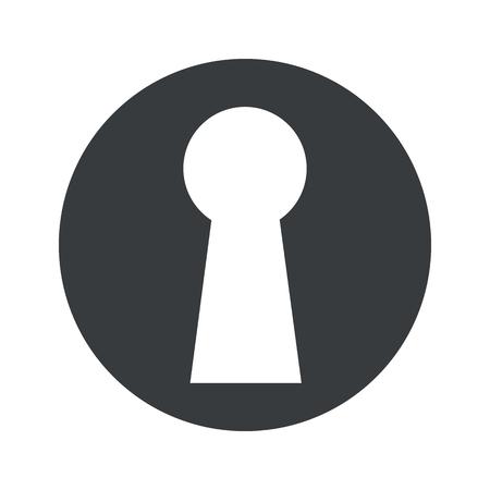 Afbeelding van sleutelgat in zwarte cirkel, geïsoleerd op wit