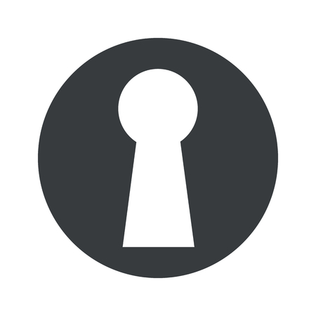 lock and key: Image of keyhole in black circle, isolated on white