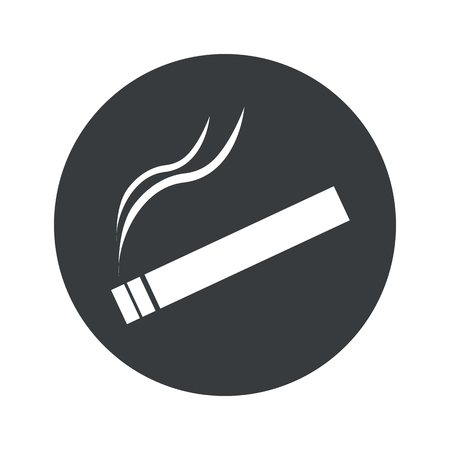 smoking place: Image of burning cigarette in black circle, isolated on white