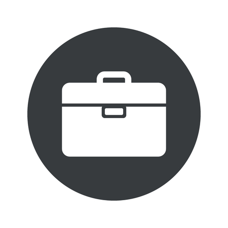 black pictogram: Image of briefcase in black circle, isolated on white
